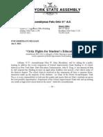 Press Release oppose suspension of School Improvement Grant
