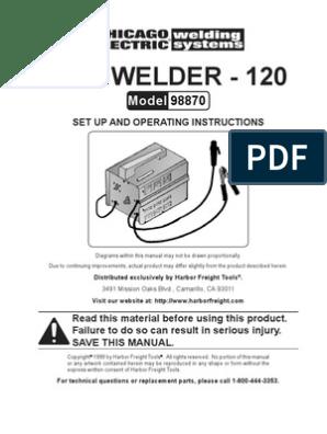 arc welder wiring diagram 120 amp arc welder manual 98870 electric arc welding  120 amp arc welder manual 98870