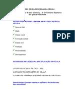 FATORES DE MULTIPLICAÇÃO DA CÉLULA