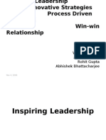 Inspiring leadership, win-win, process driven execution