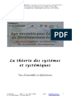 La Theorie Des Systemes