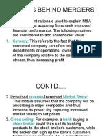 Motives Behind Mergers