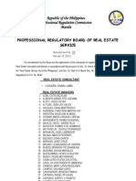 Board of Real Estate Service - Resolution No. 25 (Series of 2011) - (Consultants and Brokers)