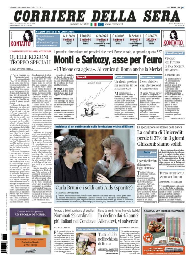 e55c3bc867 Corriere.della.sera.07.01.12 | European Union | France