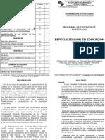 ESPECIALIZACIÓN EN EDUCACIÓN INTEGRAL