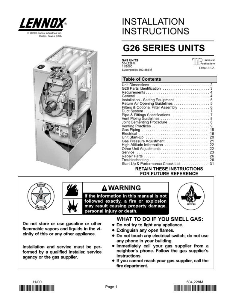 lennox g26 installation instructions furnace chimney