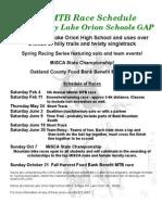 2012 LOHS Race Schedule