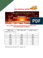 Festival Offer Diwali 25.10.11
