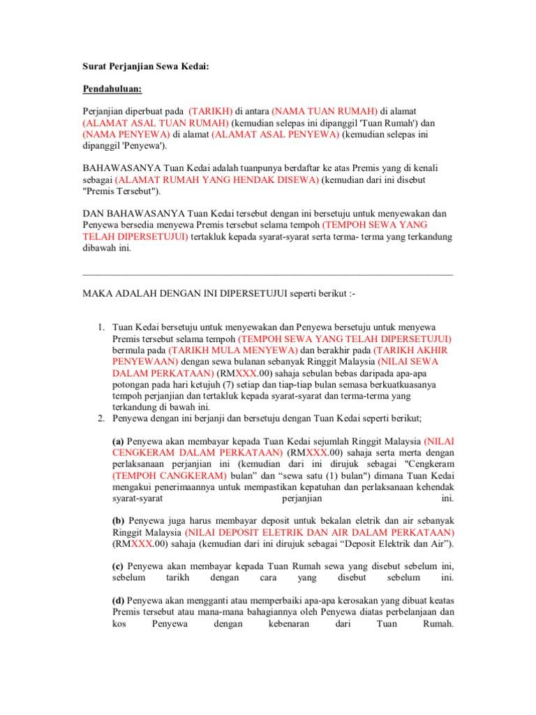 Surat Rasmi Permohonan Sewa Rumah - Surat P