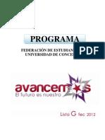 "Programa completo ""AVANCEMOS"" Lista G - FEC 2012"