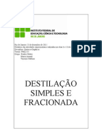 rel. destilação simples e fracionada