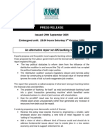 Press Release for an Alternative Report on UK Banking Refo.