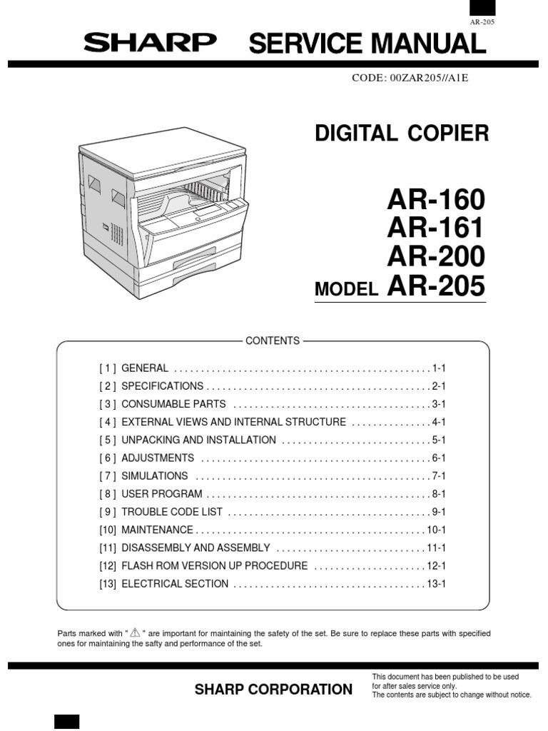sharp ar 205 service manual 2 photocopier image scanner rh es scribd com Sharp AR- M355N Sharp AR- M355N