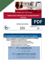 Etude Shopper ECR 2010 Report Et Subsitution vs Ruptures Mode de lit