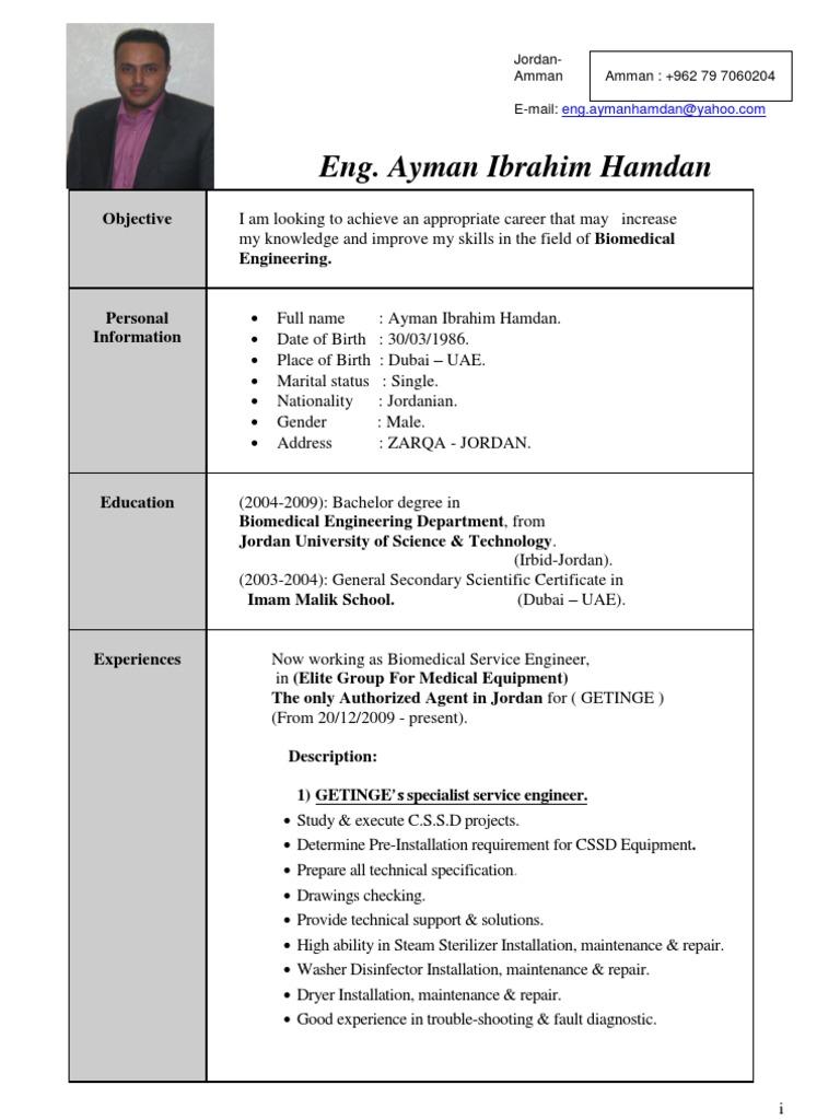 Bio Medical Engineer CV