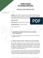 Mignovillard - Compte rendu du Conseil municipal du 5 décembre 2011
