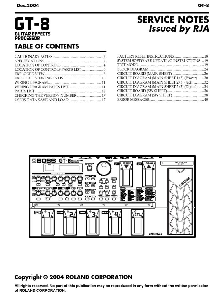 Boss Fs 6 Circuit Diagram Trusted Wiring Diagrams Gt 8 Service Notes
