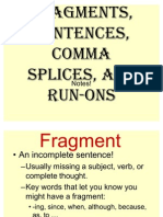 Fragments, Sentences, Comma Splices, And