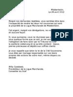 lettre menaces Wi G à frau lieberung