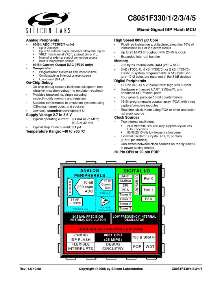 C8051f33x Microcontroller Analog To Digital Converter Clock Crystal Resonator Rc Oscillator Or Silicon