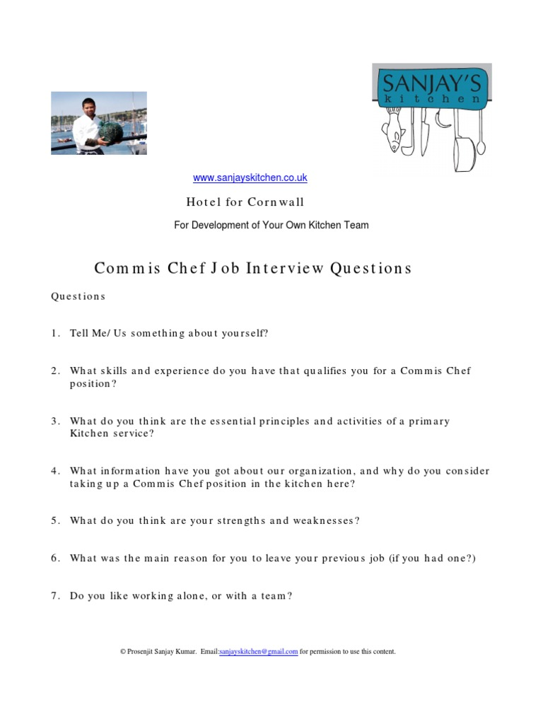 commis chef job interview questionnaire
