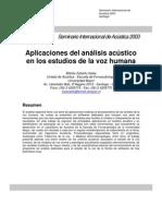 Aplicaciones Del Analisis Acustico de La Voz Humana