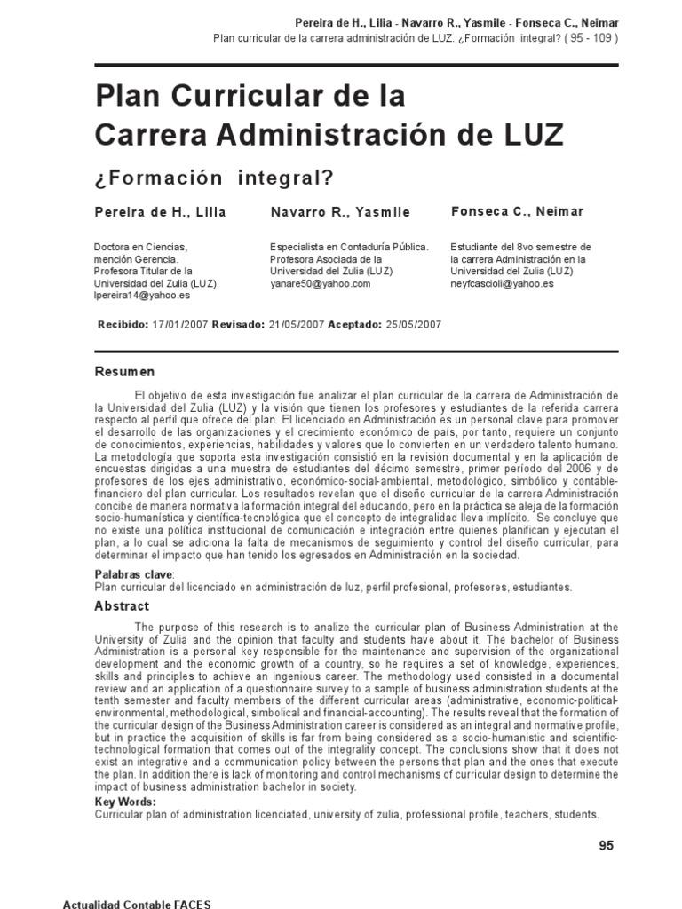 Plan curricular de la carrera administración de LUZ. ¿Formación ...