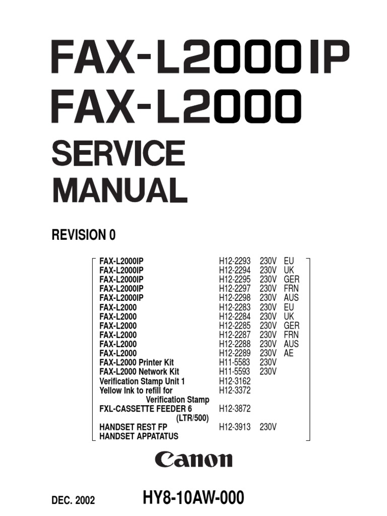 1763811-Canon L2000 L2000ip Fax Machine Service Manual