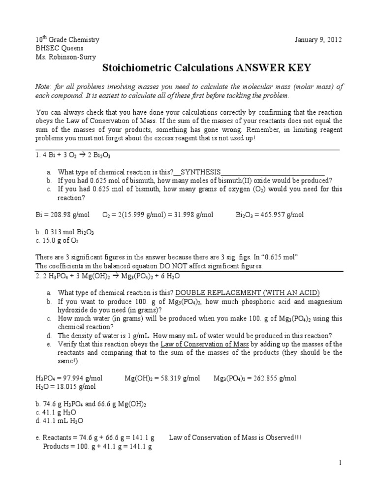 Stoichiometric Calculations Worksheet KEY | Mole (Unit ...