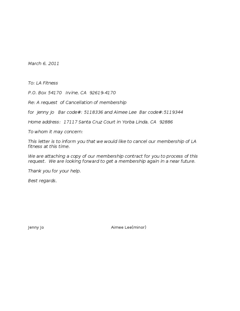 Cancellation letter la fitness 1536694283v1 thecheapjerseys Image collections