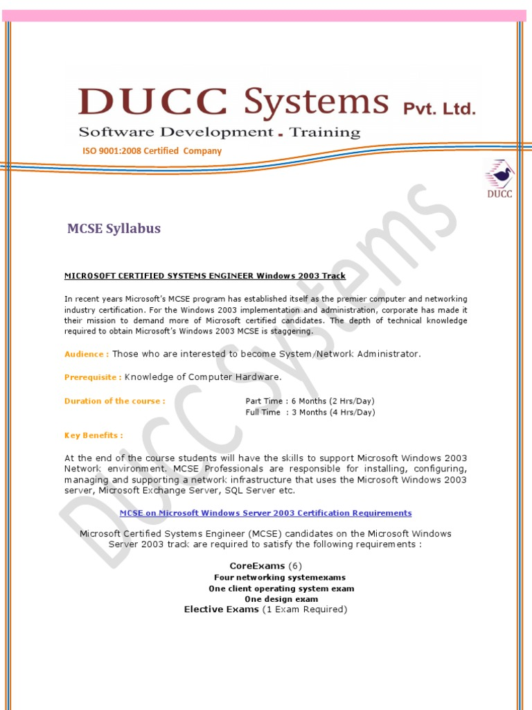 Mcse syllabus windows server 2003 computer network 1betcityfo Gallery