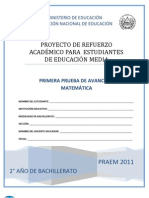 Primera Prueba de Avance de Matematica - Segundo Año de Bachilllerato - PRAEM 2011