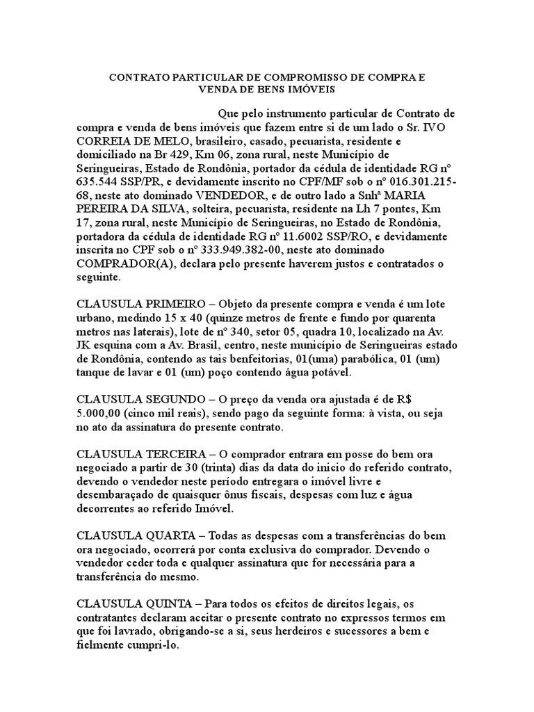 Modelo Contrato De Compra De Imóvel Artigo November 2019
