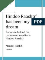 Hindoo Raashtr is my dream