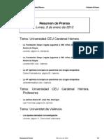 Resumen prensa CEU-UCH 09-01-2012
