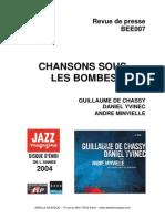 """Revue de presse de l'album """"Chansons sous les bombes"""" de Guillaume de Chassy, Daniel Yvinec et André Minvielle (BEE007)"""