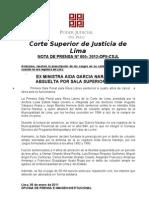 Aida García Naranjo es absuelta por Primera Sala Penal de Lima