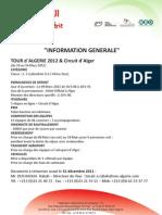 Informations generale tour d'algerie 2012