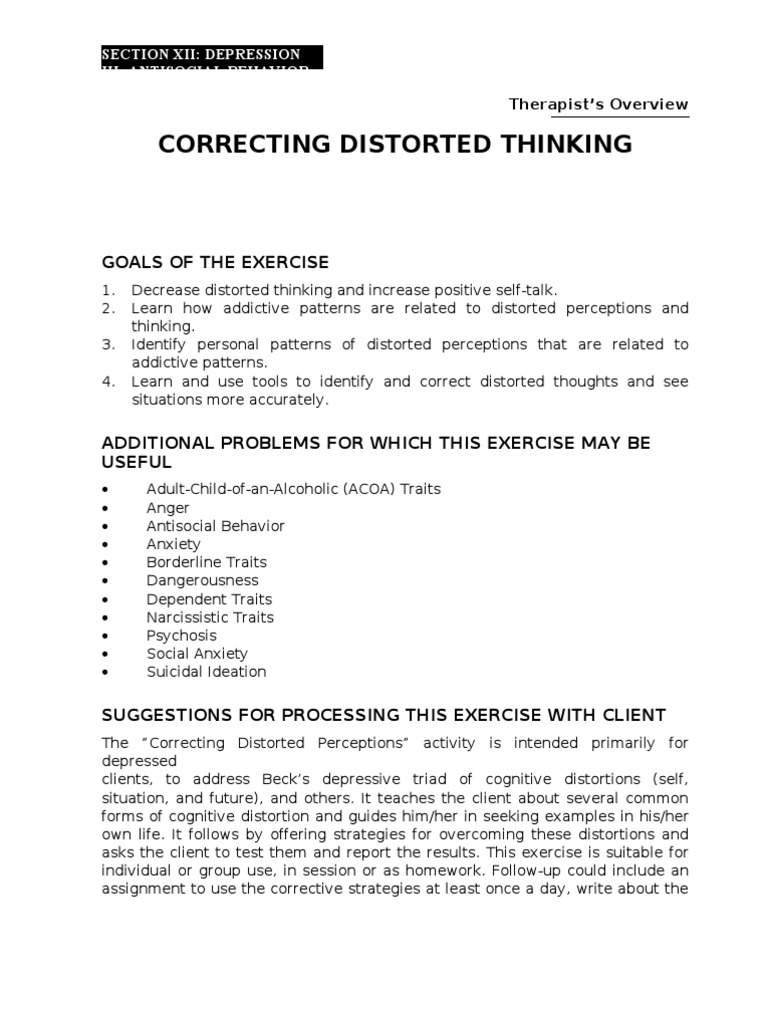 Correcting Distorted Thinking Cognitive Science – Distorted Thinking Worksheets