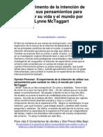 el experimento de la intención de utilizar sus pensamientos para cambiar su vida y el mundo por lynne mctaggart - 5 estrellas reseña del libro