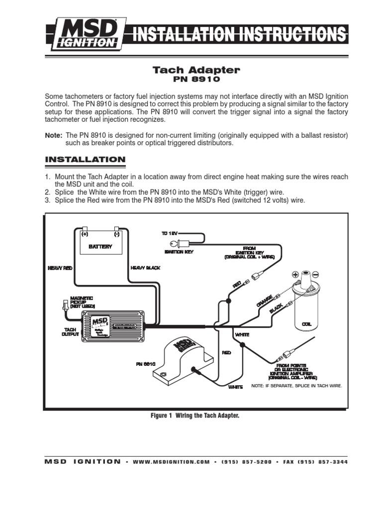 msd-8910 frm28850   Ignition System   Electrical Engineering   Sport Comp Tach Wiring Diagram To Msd Ing      Scribd