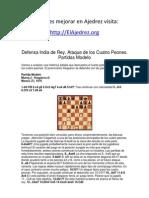 Defensa India de Rey. Ataque de los Cuatro Peones.  Partidas Modelo