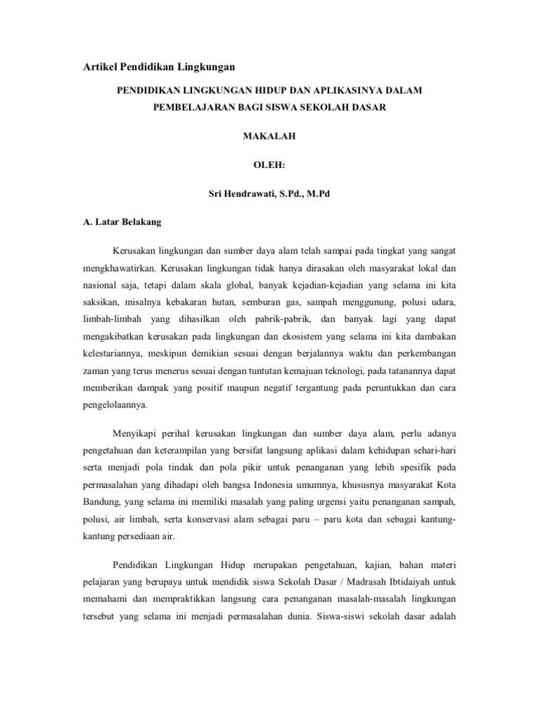 Artikel Pendidikan Lingkungan
