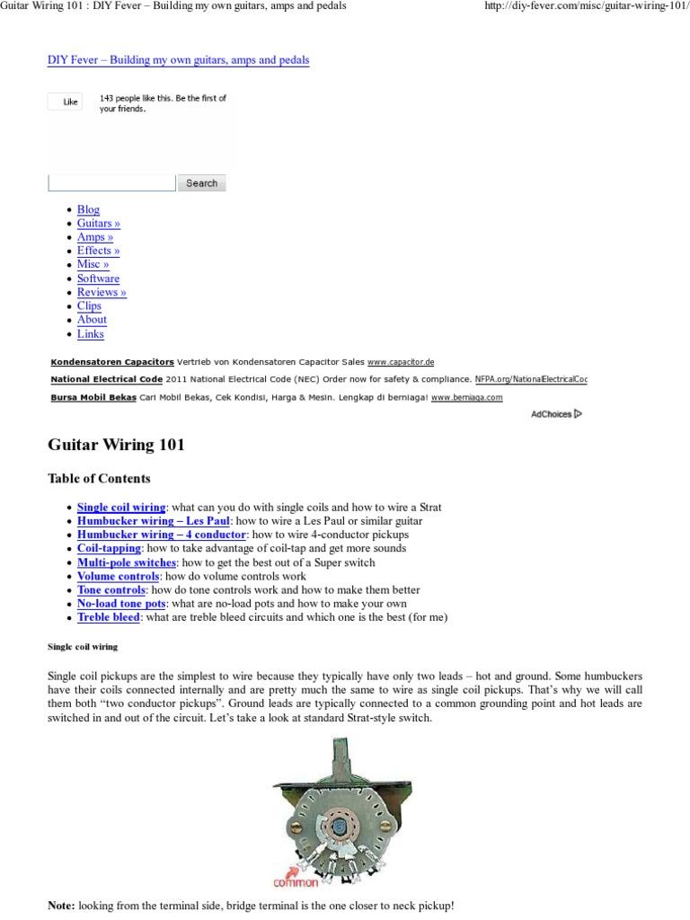 Guitar Wiring 101 - Wiring Schematics on