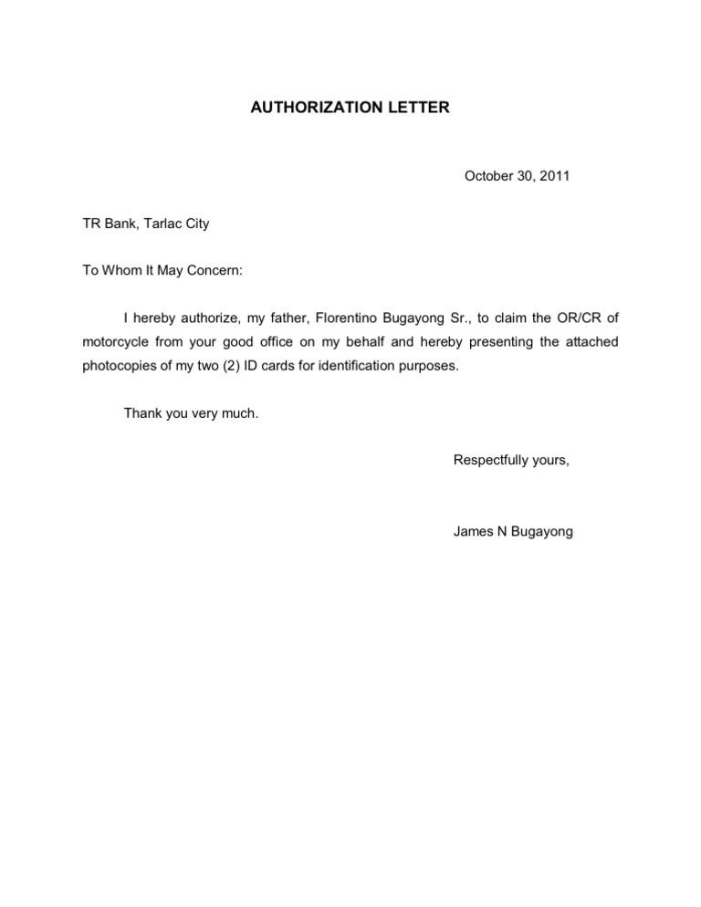 Authorization Letter Motor Vehicle – Sample Bank Authorization Letter