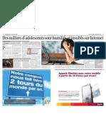 Des milliers d'adolescents sont humiliés et insultés sur internet, Le Matin Dimanche, 22 février 2009