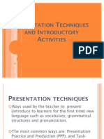 Presentation Techniques and Introductory Activities