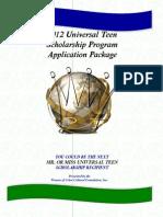 Universal Teen Scolarship Progam Application 2012
