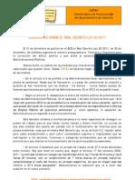 2012-01-10 Comunicado Sobre El Real Decreto Ley 20-2011