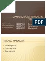 DIAMAGNETIK, PARAMAGNETIK, FEROMAGNETIK